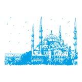 苏丹阿哈迈德清真寺或蓝色清真寺,伊斯坦布尔,土耳其 向量例证