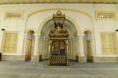 苏丹阿布・伯加尔状态清真寺敏拜楼在柔佛州Bharu,马来西亚 免版税库存图片