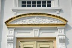 苏丹阿布・伯加尔状态清真寺建筑细节在柔佛州Bharu,马来西亚 免版税库存图片