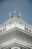 苏丹阿布・伯加尔状态清真寺建筑细节在柔佛州Bharu,马来西亚 免版税库存照片