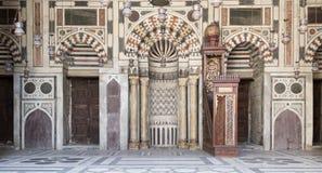 苏丹Barquq清真寺,开罗埃及内部门面  库存图片
