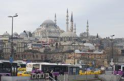 苏丹Suleiman清真寺壮观的1月早晨 伊斯坦布尔 库存图片