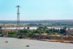 苏伊士运河,埃及 库存照片