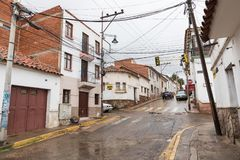 苏克雷, BOLIWIA - 2018年2月08日:街道在苏克雷 苏克雷是Th 库存图片