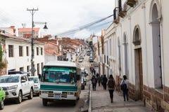 苏克雷, BOLIWIA - 2018年2月08日:街道在苏克雷 苏克雷是Th 免版税库存图片
