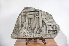 苏州开掘的公园展示雕塑江南水村庄 库存图片