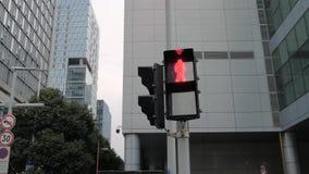 苏州,中国- 2018年12月3日:Stedicam射击红色红灯变动绿化,允许步行者走 股票录像