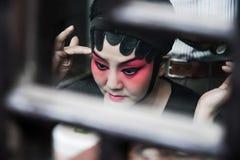 苏州- 10月04 :中国歌剧女演员的特写镜头 库存照片