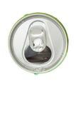 水苏打下落在被打开的铝饮料绿色罐头的, t 免版税库存图片