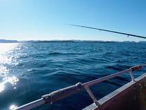 苏打水表面和运动的钓鱼竿 免版税库存图片