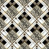 苏格兰与豹子的格子呢难看的东西无缝的样式察觉eps10 免版税图库摄影