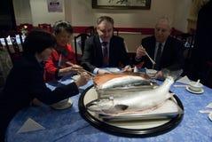 苏格兰中国三文鱼成交 免版税图库摄影