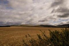 苏格兰农村风景在多云天空下 免版税库存照片