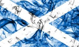 苏格兰在白色背景的烟旗子 免版税库存图片