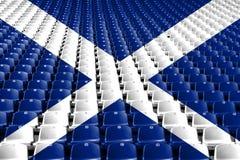 苏格兰旗子体育场位子 体育竞赛概念 免版税库存图片