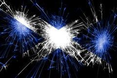 苏格兰烟花闪耀的旗子 新年、圣诞节和国庆节概念 向量例证