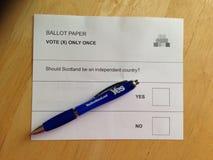 苏格兰独立公民投票2014年9月18日 库存图片