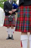 苏格兰男用短裙,苏格兰音乐家 免版税库存图片
