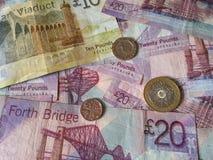 苏格兰磅纸币和硬币 库存照片