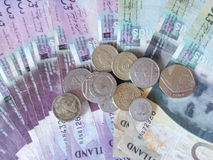 苏格兰磅纸币和硬币 免版税库存图片