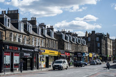 苏格兰英国爱丁堡14 05 2016 - 日常生活在街道商店 库存图片