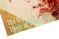 苏格兰钞票, 10磅,血液 库存照片