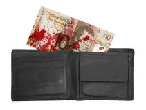 苏格兰钞票, 10磅,血液 图库摄影