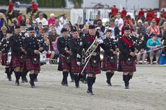 苏格兰高地鼓和风笛带 库存图片