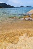 苏梅岛海湾亚洲小岛白色海滩和南c海 免版税库存照片
