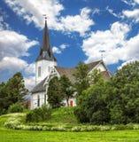 苏特兰教会在苏特兰在诺尔兰县,挪威 免版税库存照片