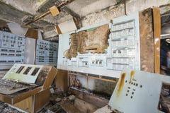 苏维埃Duga雷达系统指挥中心大厦在切尔诺贝利中 免版税库存图片