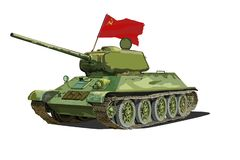 苏维埃T-34坦克,被隔绝的传染媒介图象 库存例证