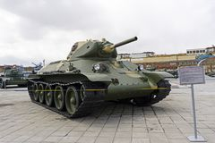苏联中型油箱T-34模型1940年在军用设备博物馆  免版税库存图片