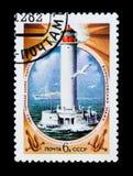苏联俄罗斯显示沃龙佐夫灯塔,黑海,傲德萨,大约1982年 图库摄影