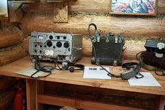 苏联党羽军用电台和电话在战争中 免版税图库摄影
