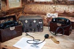 苏联党羽军用电台和电话在战争中 免版税库存照片