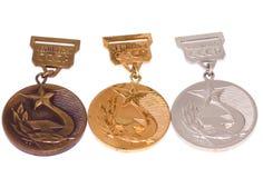 苏联冠军奖牌古铜色` s的收藏-金黄,银色和 科沃拉,芬兰06 09 2016年 库存照片