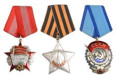 苏联命令和奖在白色 库存图片