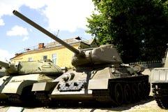 苏联坦克二战T-34  博物馆在戈梅利 迟来的 免版税库存图片
