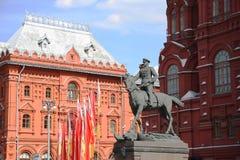 苏联将军格奥尔基・康斯坦丁诺维奇・朱可夫的纪念碑在莫斯科 免版税图库摄影
