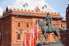 苏联将军格奥尔基・康斯坦丁诺维奇・朱可夫,莫斯科的纪念碑 免版税库存图片