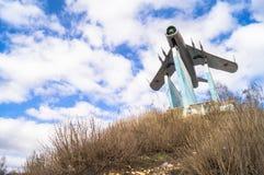 苏联战机米格-17 纪念碑在勒热夫,俄罗斯 库存图片