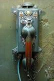 从苏联潜水艇的生锈的被抓的古老电话 库存图片