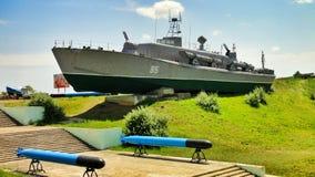 苏联的老军用军舰 免版税库存照片