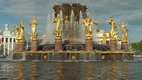 苏联符号喷泉慢动作晴朗的天气录影在莫斯科 影视素材