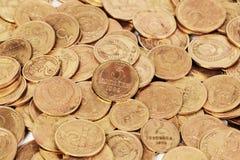 苏联老肮脏的硬币背景 免版税图库摄影