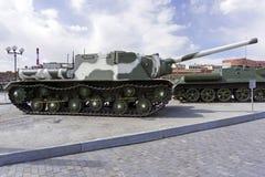 苏联自走枪SU-152在军用设备博物馆  免版税库存图片
