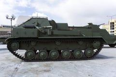 苏联自走枪SU-76M在军用设备博物馆  免版税库存照片