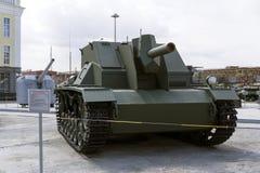 苏联自走火炮登上SG-122在军用设备博物馆  免版税库存照片
