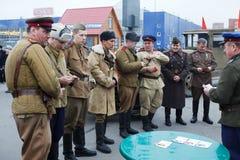 苏联被授予的奖牌的战士 免版税库存照片